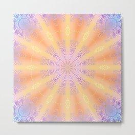 Let the Sun Shine Mandala Metal Print