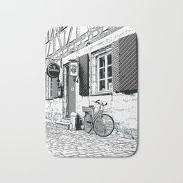 The Bicycle - Pen and ink drawing Bath Mat