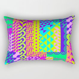 Abstract geometrical neon colors eclectic pattern Rectangular Pillow