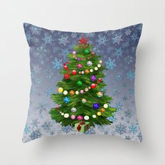Christmas tree & snow v.2 Throw Pillow