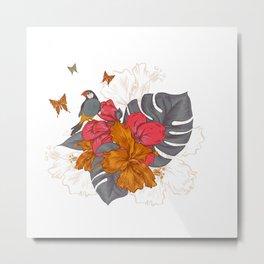 Parrot on a rose - Butterflies / Butterfly Metal Print