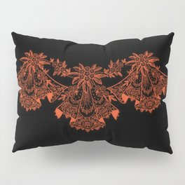 Vintage Lace Hankies Black and Flame Pillow Sham