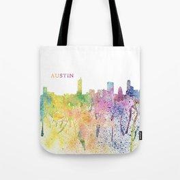 Austin Texas Skyline Impressionistic Splash Tote Bag
