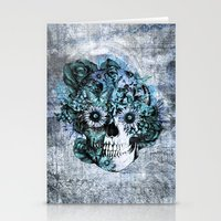 ohm Stationery Cards featuring Blue grunge ohm skull by Kristy Patterson Design
