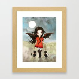 Child of Halloween Cute Gothic Vampire Child and Black Cats Illustration Framed Art Print