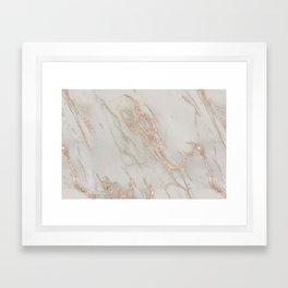 Marble - Rose Gold Marble Metallic Blush Pink Framed Art Print