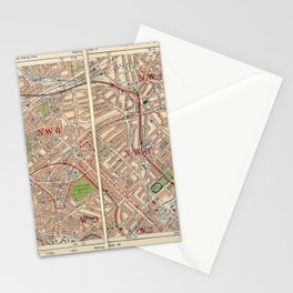 Bacon's Pocket Atlas of London (1921) - 14 Kilburn, Paddington, Primrose Hill Stationery Cards