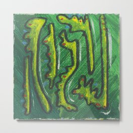 Square Colorful Abstract The Growing Greens Art Work Metal Print
