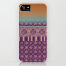 Purple Teal Orange Boho Mandala Tile Ombre Mixed Pattern iPhone Case