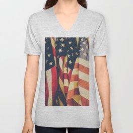 American flag 4 Unisex V-Neck