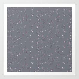 Gray Light Pink Shambolic Bubbles Art Print