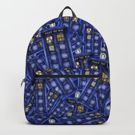 Blue Phone Booth Random Pattern Backpack