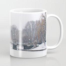 Snow falling in a city park, Public Garden, Boston Coffee Mug