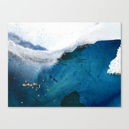 In the Surf: a vibrant minimal abstract painting in blues and gold Canvas Print