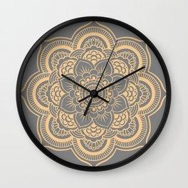 Mandala Flower Gray & Peach Wall Clock