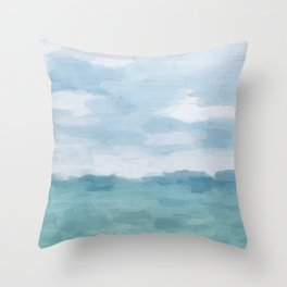 Mint Blue White Gray Abstract Wall Art Painting Throw Pillow
