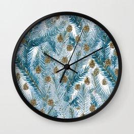 Modern brown blue watercolor pinecone tree leaves Wall Clock