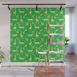 Animal universe. Yellow silhouettes of wild animals. African giraffes, leopards, cheetahs. snakes, exotic tropical birds. Tribal ethnic nature bright green grunge distressed pattern. Wall Mural