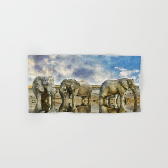 Elephants Drinking Hand & Bath Towel