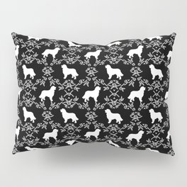Bernese Mountain Dog florals dog pattern minimal cute gifts for dog lover silhouette black and white Pillow Sham