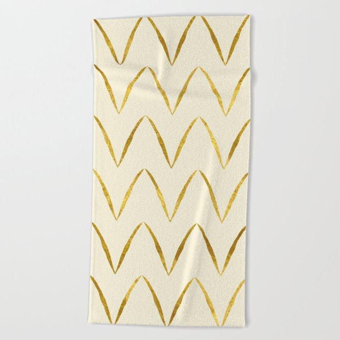 Cream Gold Foil 05 Beach Towel
