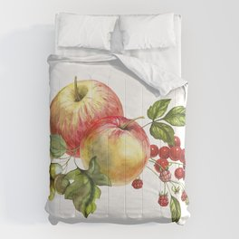 Fruit on a white background. Apples, red currants, grapes. Comforters