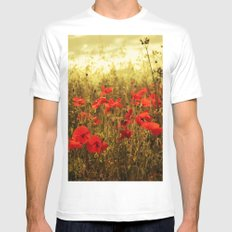 Poppy Glow MEDIUM Mens Fitted Tee White