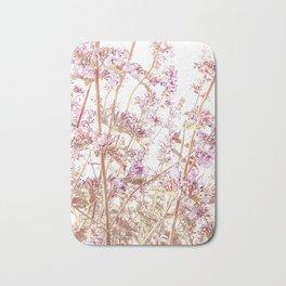 Soft Pink Wild Summer Flowers Bath Mat