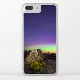Northern Lights and Petrified Tree Stump Clear iPhone Case