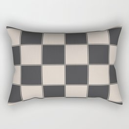 Traditional Checkerboard, Ecru-Beige and Chocolate-Deep Brown Rectangular Pillow
