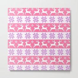 Watercolour Fair Isle in Pink & Purple Metal Print