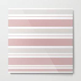 Pink  and Light Gray Stripes Metal Print