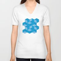 escher V-neck T-shirts featuring Escher #007 by rob art | simple