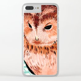 Tawny Owl With Aqua Leaves Clear iPhone Case