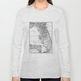 Vintage Map of Florida (1909) BW Long Sleeve T-shirt