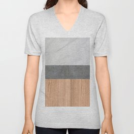 Carrara Marble, Concrete, and Teak Wood Abstract Unisex V-Neck