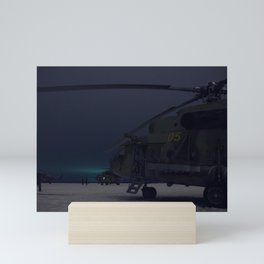 Russian Search and Rescue helicopter teams wait to take off from Kustanay Kazakhstan to support the Mini Art Print