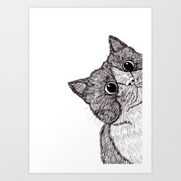 Astonishment Cat Art Print