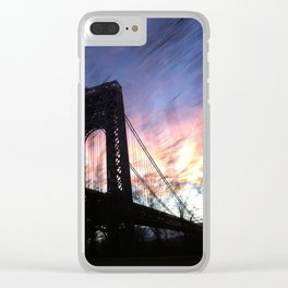 George Washington Bridge Dusk, New York Clear iPhone Case
