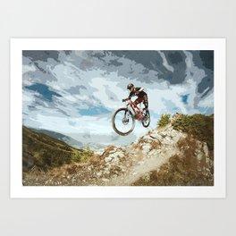 Flying Downhill on a Mountain Bike Art Print