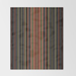 Multi-colored striped pattern in green , black and brown tones . Throw Blanket