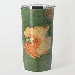 Old Yellowish Antarctic Map with Folding Marks, Artwork for Wall Art, Prints, Tshirts, Posters, Men, Women, Youth Travel Mug