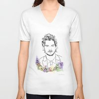 louis tomlinson V-neck T-shirts featuring Louis Tomlinson by Mariam Tronchoni