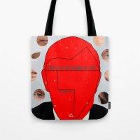 putin Tote Bags featuring Putin-Quiz  by Alessandro De Vita
