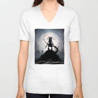 skyrim V-neck T-shirts featuring Skyrim Kid by Andy Fairhurst Art