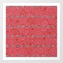 Red Circles with Solid Squares Art Print