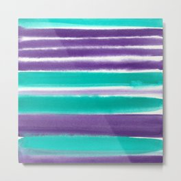 Teal and Purple Watercolor Stripes Metal Print