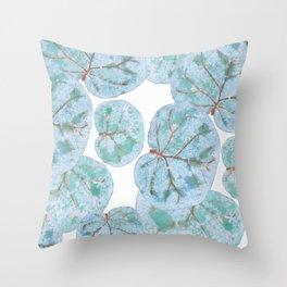 Sea Grape Tropical Leaves Throw Pillow