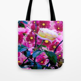 YELLOW ROSE GARDEN BEAUTY & PINK COSMOS Tote Bag