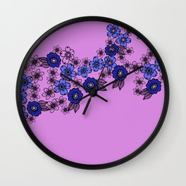 blossom of Flowers blue - violet Wall Clock